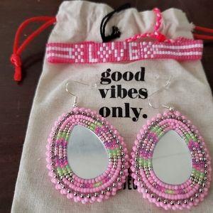 GOOD VIBES ONLY! Handmade earrings/ braclelet